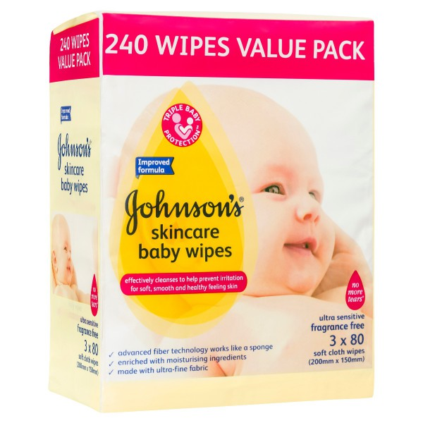 JOHNSON'S® Baby Wipes Skincare F/F 3x80 (bundle of 4)